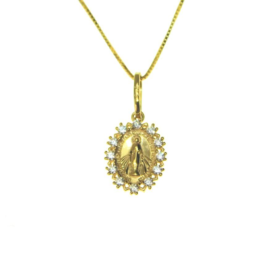 Gargantilha em Ouro 18K Medalha Nossa Senhora das Graças GAV910647