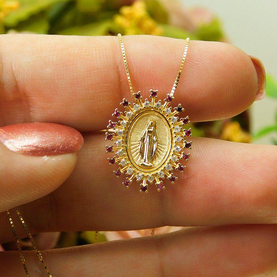 Gargantilha em Ouro 18K Medalha Nossa Senhora das Graças GSTM13ZV
