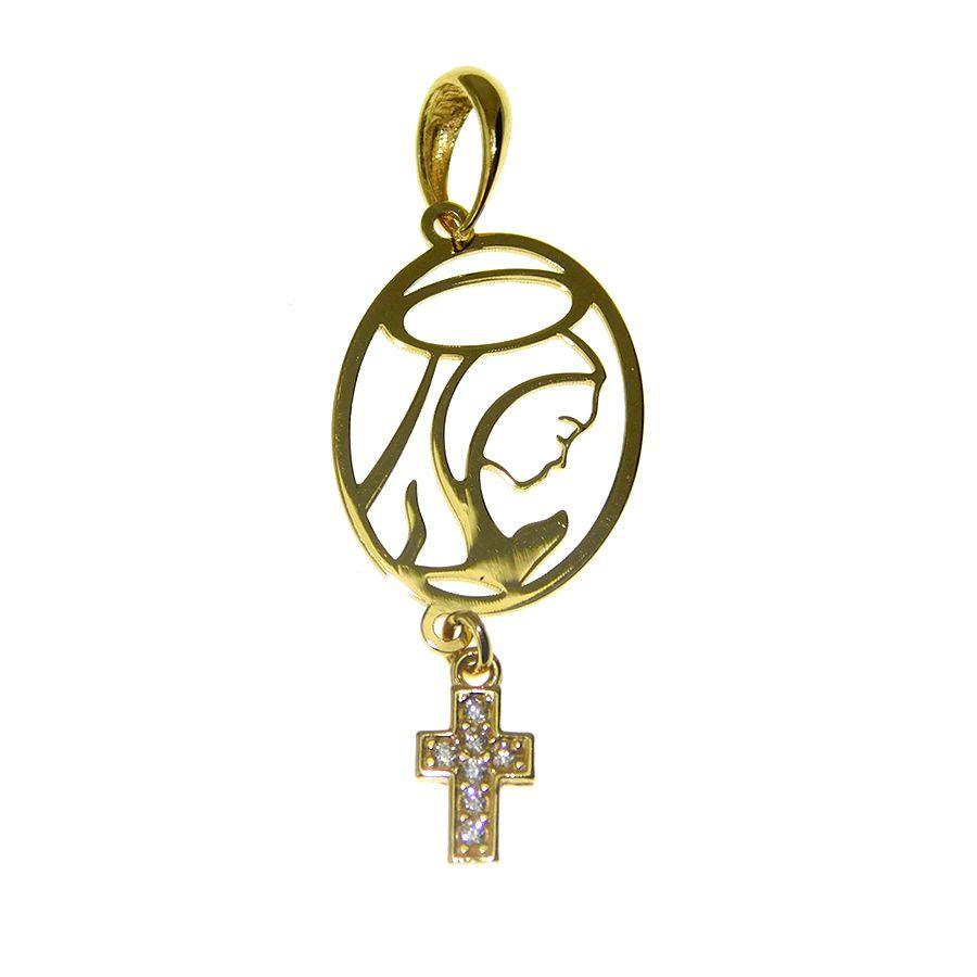 Gargantilha em Ouro 18K Medalha Nossa Senhora do Silêncio GPN147Z