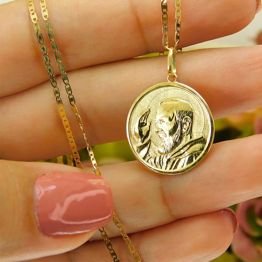 Gargantilha em Ouro 18K Medalha Padre PioGP01