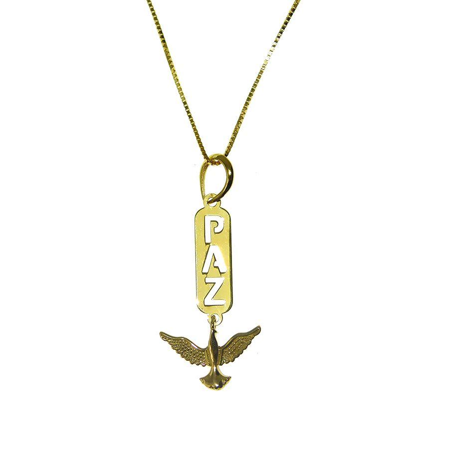 Gargantilha em Ouro 18K Medalha Paz GPN143