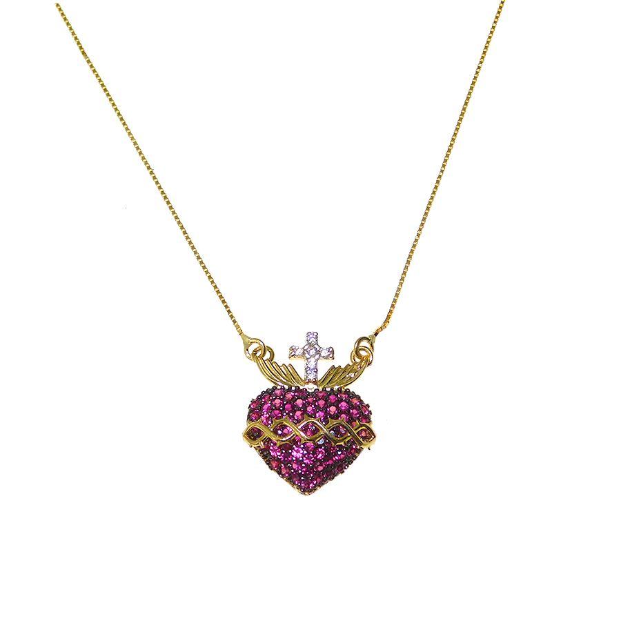 Gargantilha em Ouro 18K Medalha Sagrado Coração de Jesus Medalha Imaculado Coração de Maria CL29Z