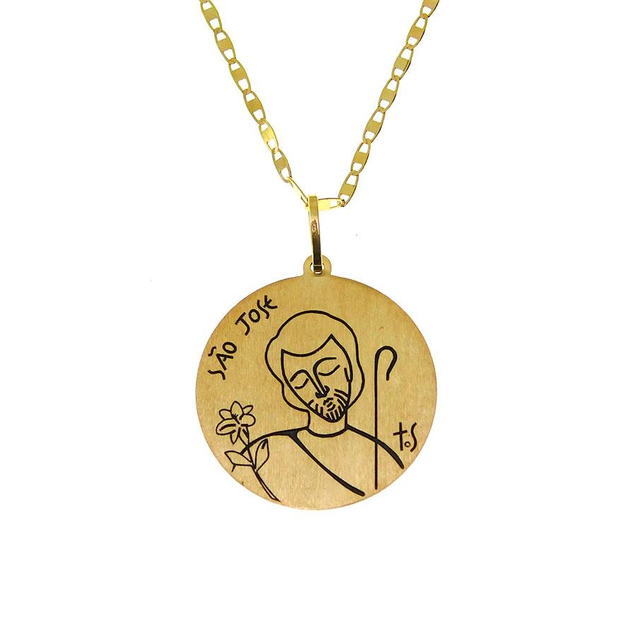 Gargantilha em Ouro 18K Medalha São José e Virgem Maria GA1210