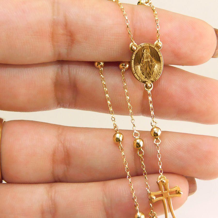 Gargantilha Meio Terço em Ouro 18K Nossa Senhora das Graças NG916629