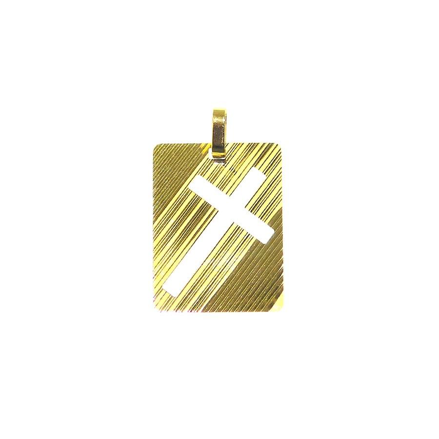 Gargantilha Placa Cruz vazada em Ouro 18K GAP99236