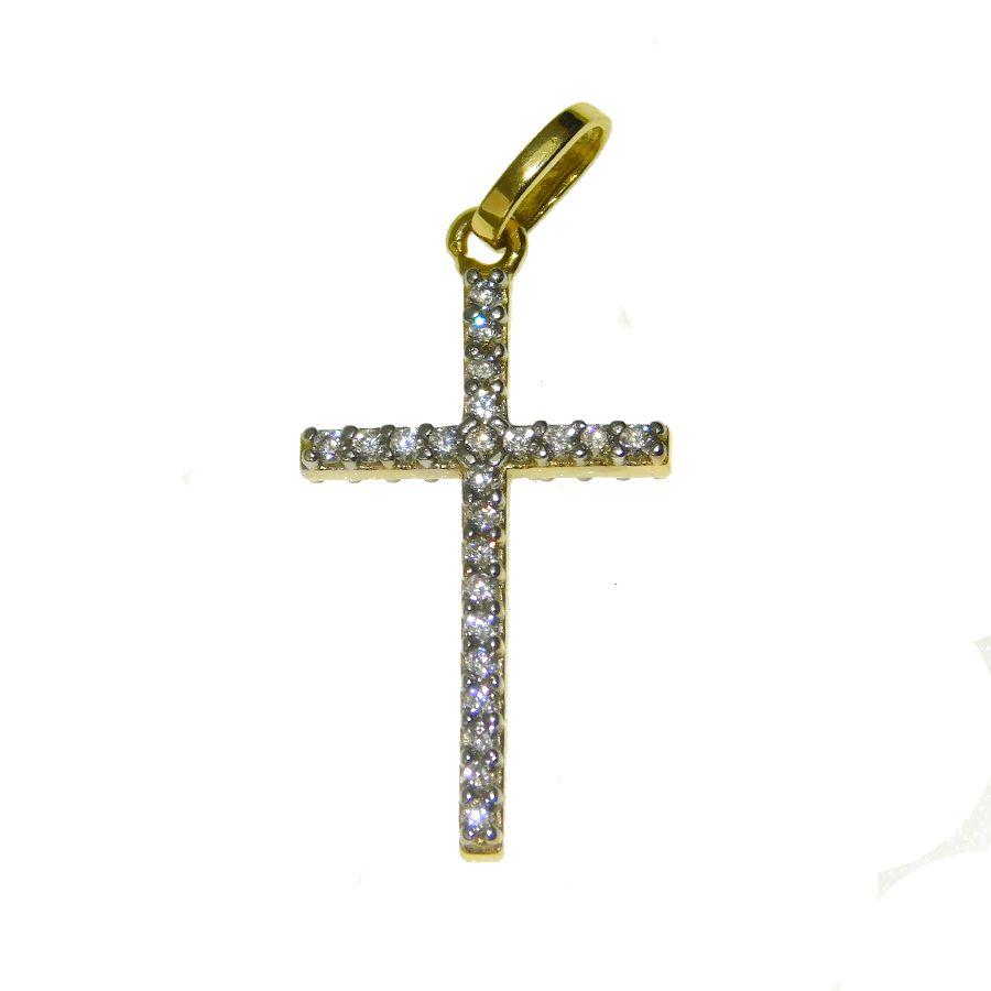 Pingente em Ouro 18K Crucifixo com Zircônia CRU37Z