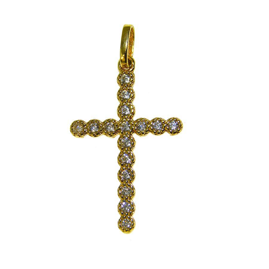 Pingente em Ouro 18K Crucifixo com Zircônia CRU40Z