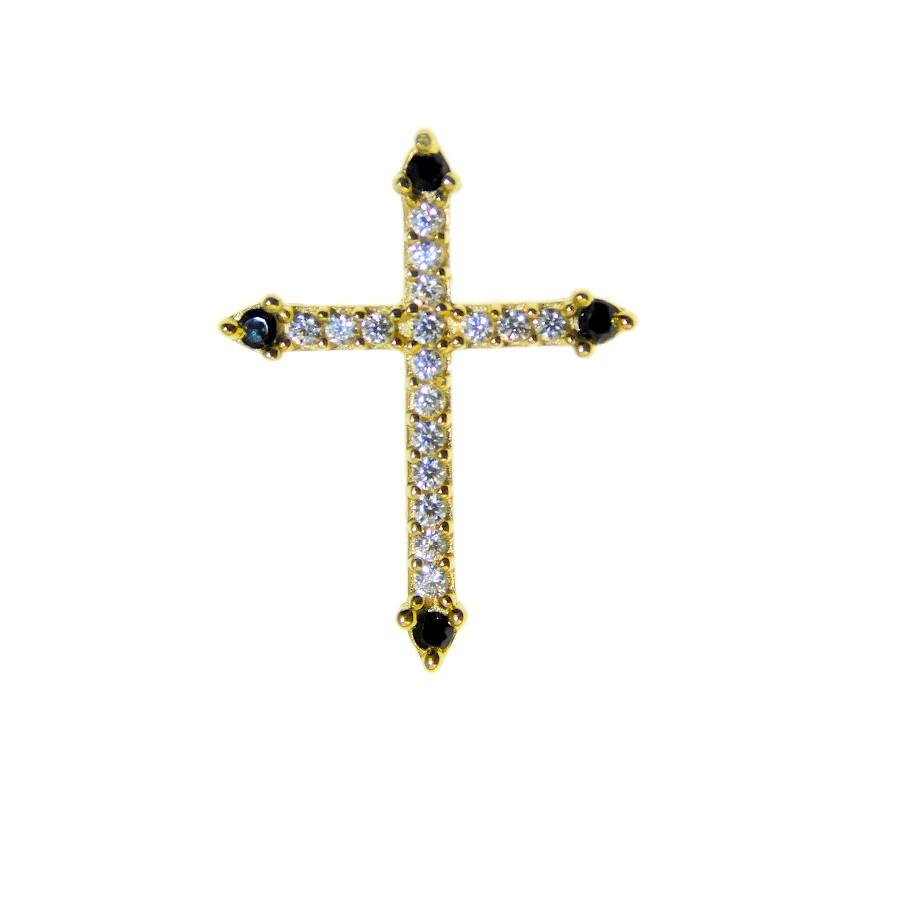 Pingente em Ouro 18K Crucifixo com Zircônia PI93344