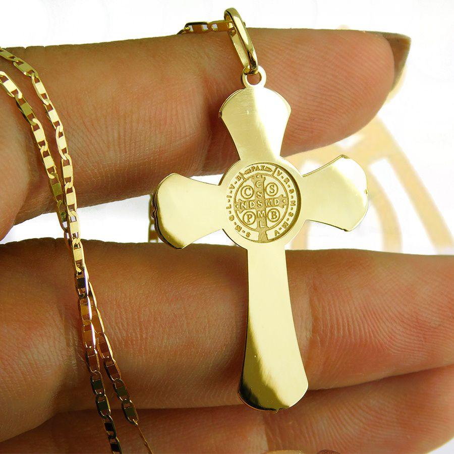 Pingente em Ouro 18K Crucifixo de São Bento NP913742