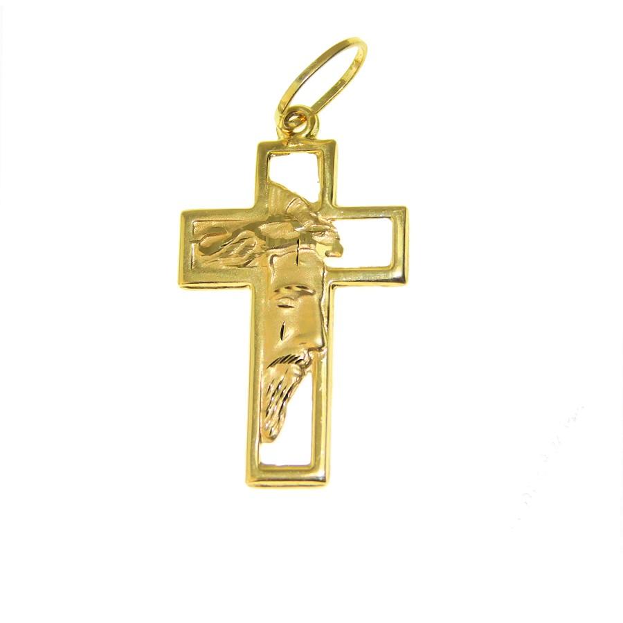 Pingente em Ouro 18K Crucifixo Face de Cristo PA14