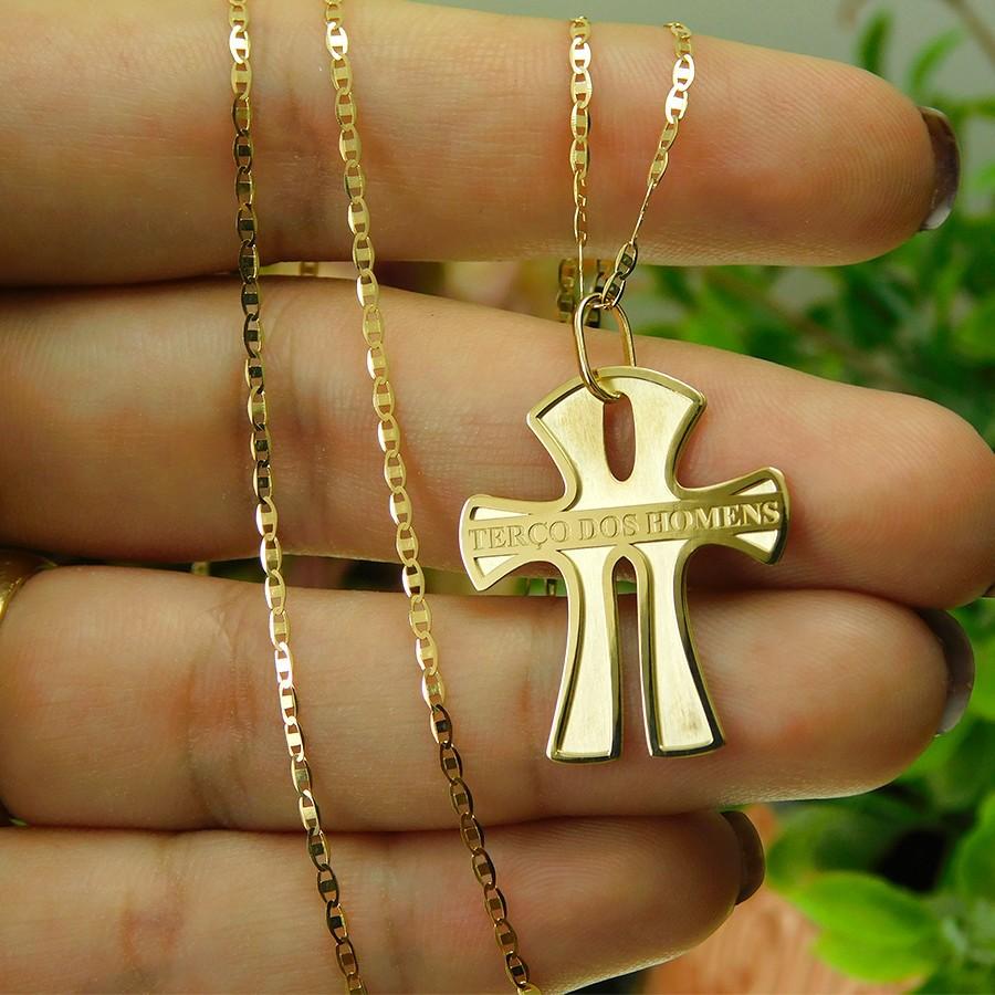 Pingente em Ouro 18K Crucifixo Terço dos Homens PTH0010