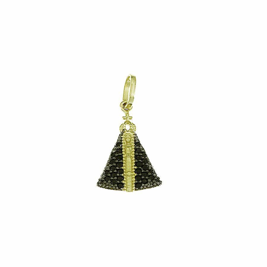 Pingente em Ouro 18K Medalha Nossa Senhora Aparecida com Zircônia NP911878