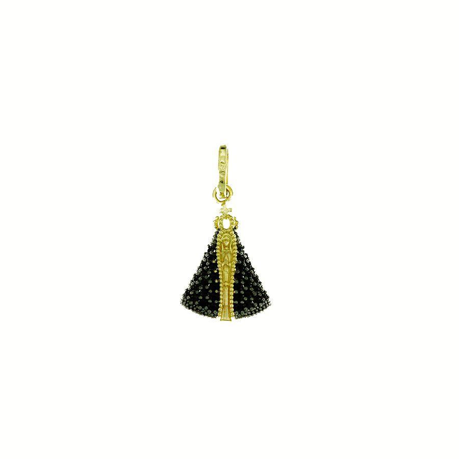Pingente em Ouro 18K Medalha Nossa Senhora Aparecida com Zircônia NP912129