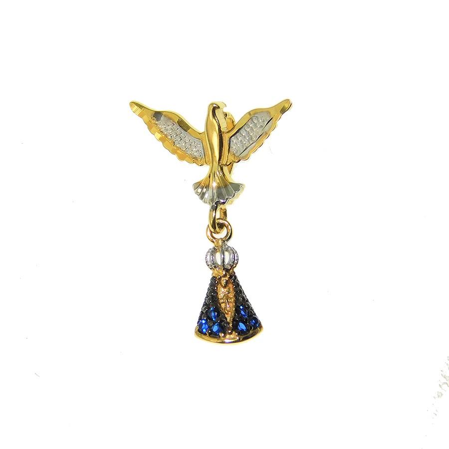 Pingente em Ouro 18K Divino Espírito Santo e Nossa Senhora Aparecida PI98630