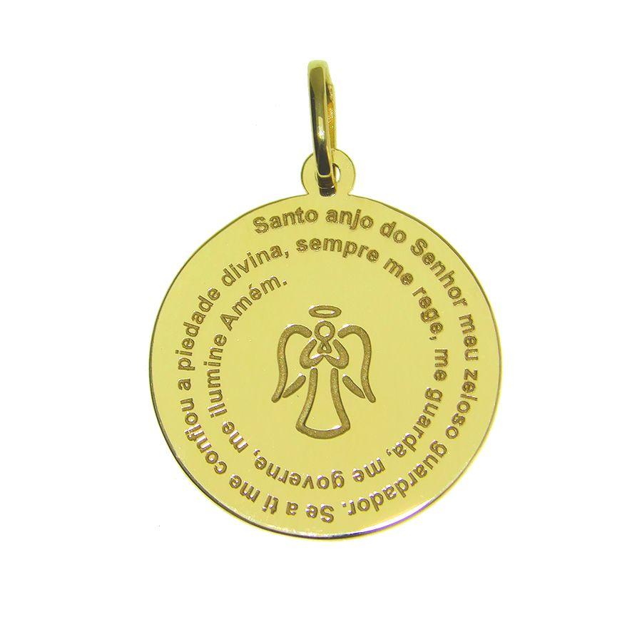 Pingente em Ouro 18K Medalha Anjo da Guarda NP913916