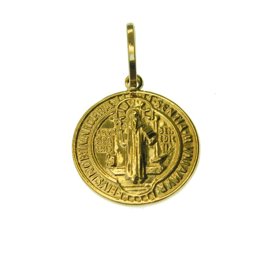 Pingente em Ouro 18K Medalha da Cruz de São Bento DS282P