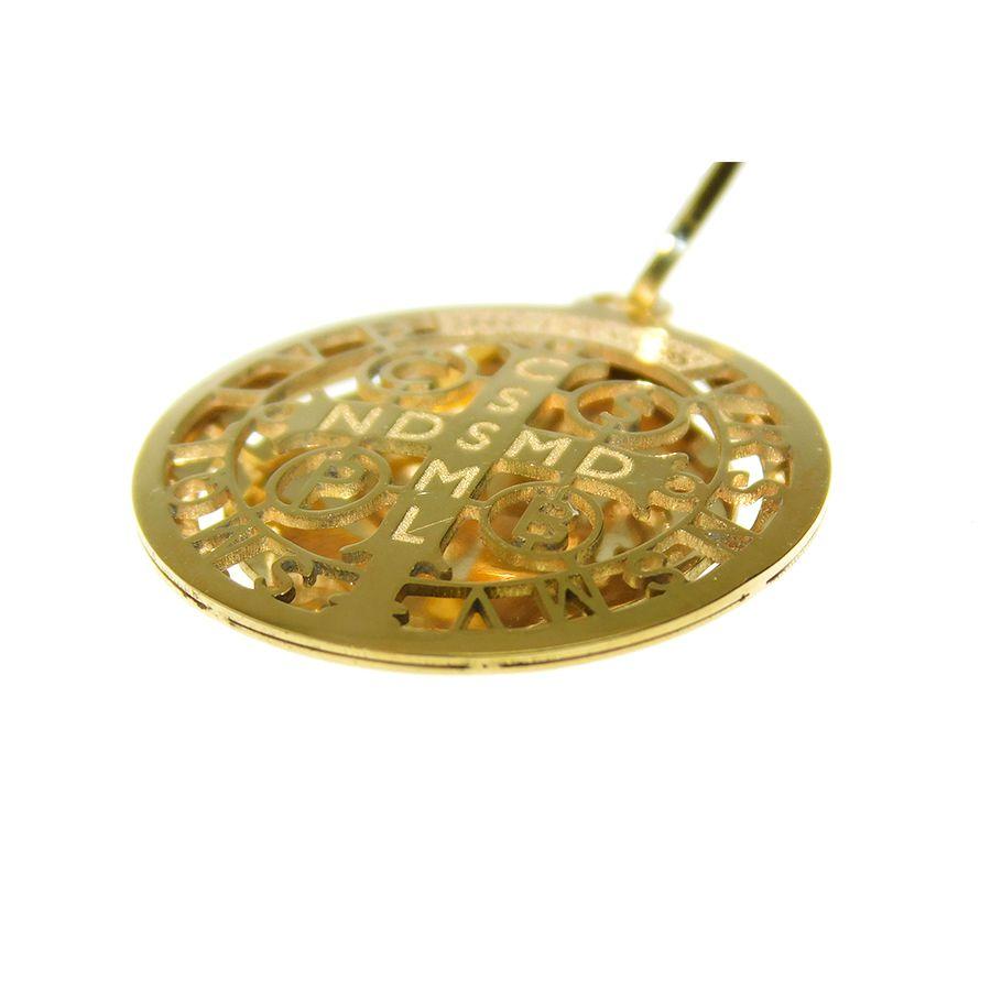 Pingente em Ouro 18K Medalha da Cruz de São Bento PGE03