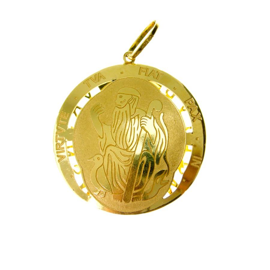 Pingente em Ouro 18K Medalha da Cruz de São Bento PGE05