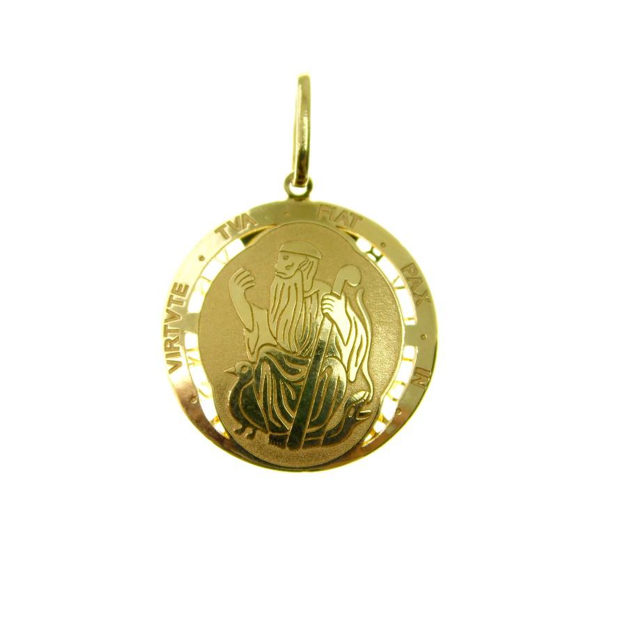 Pingente em Ouro 18K Medalha da Cruz de São Bento PGE06