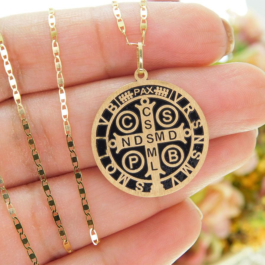 Pingente em Ouro 18K Medalha da Cruz de São Bento PGE1170