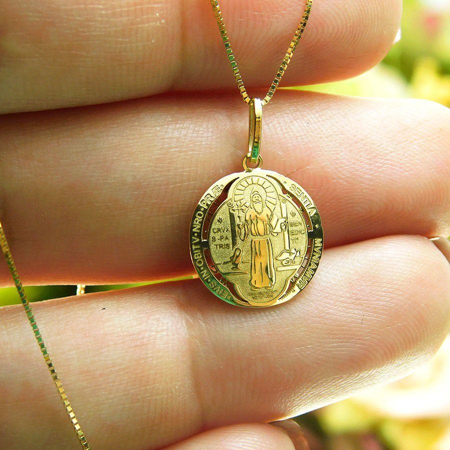 Pingente em Ouro 18K Medalha da Cruz de São Bento PGE23