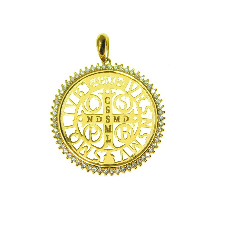 Pingente em Ouro 18K Medalha da Cruz de São Bento PN168Z