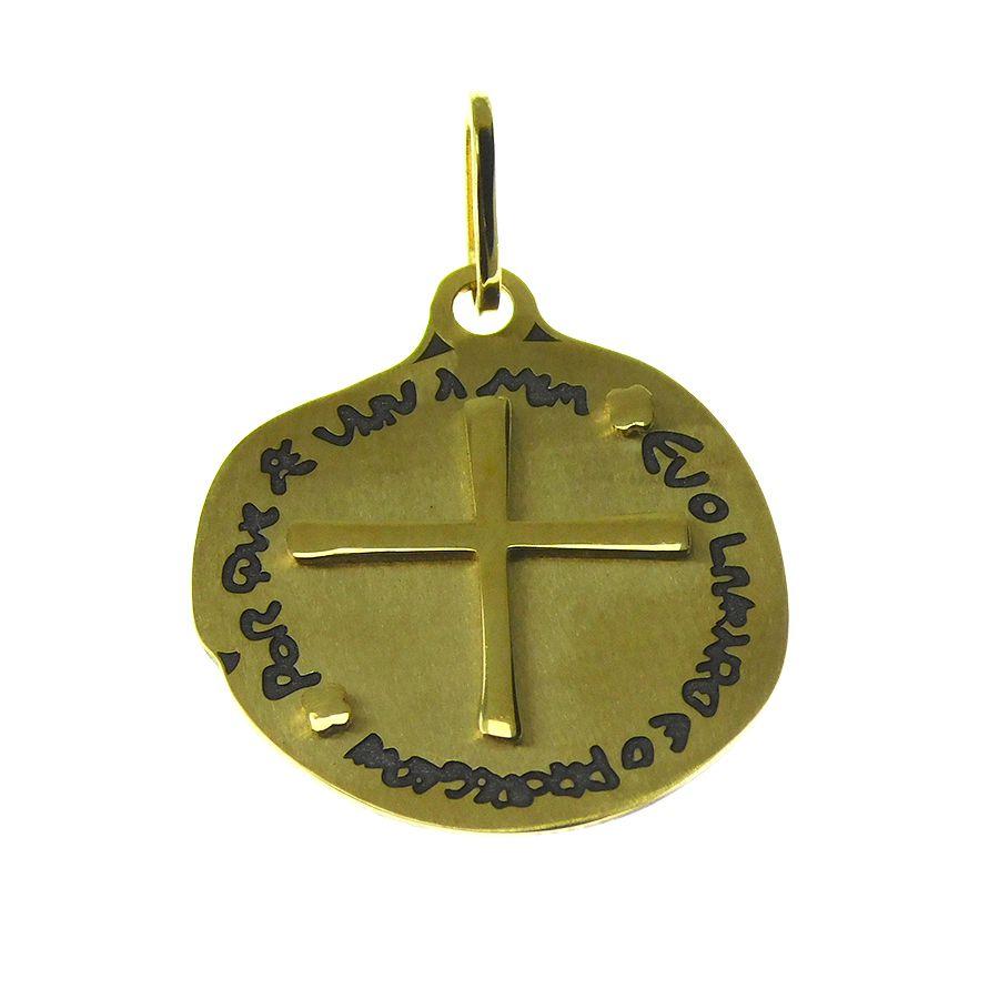 Pingente em Ouro 18K Medalha das Duas Cruzes PGE101