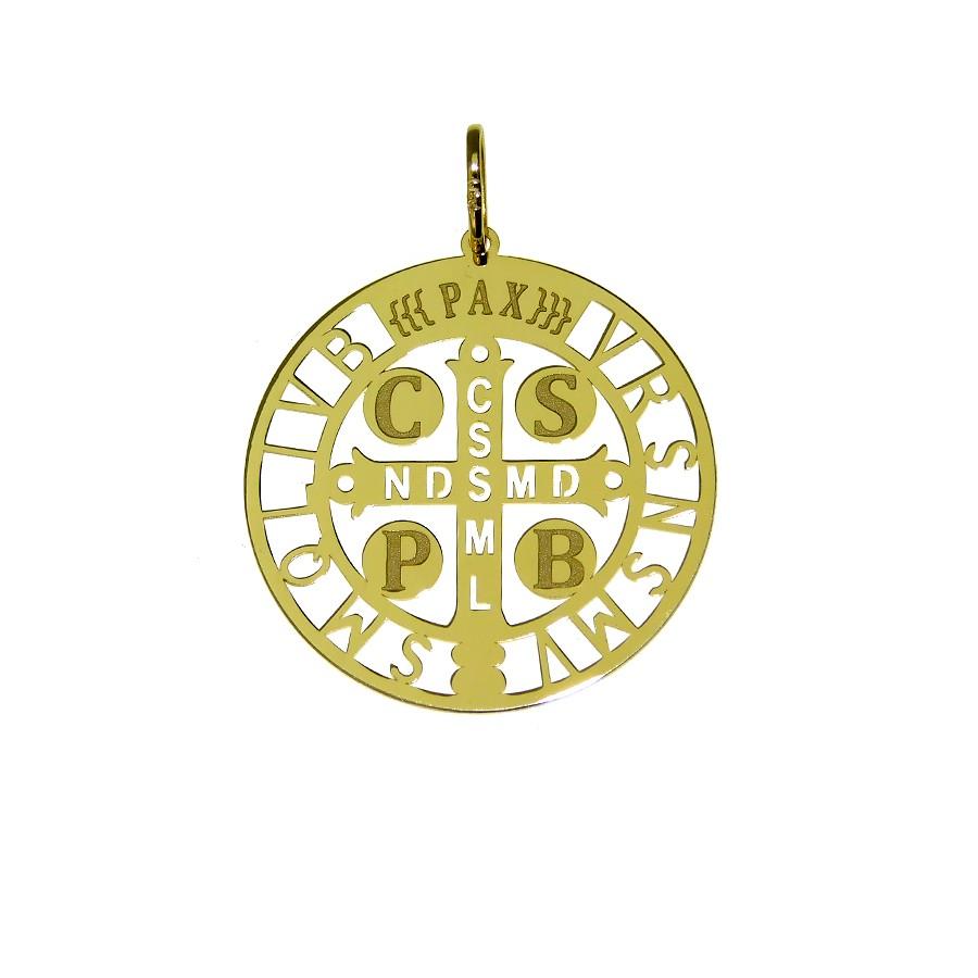 Pingente em Ouro 18K Medalha de São Bento NP912099