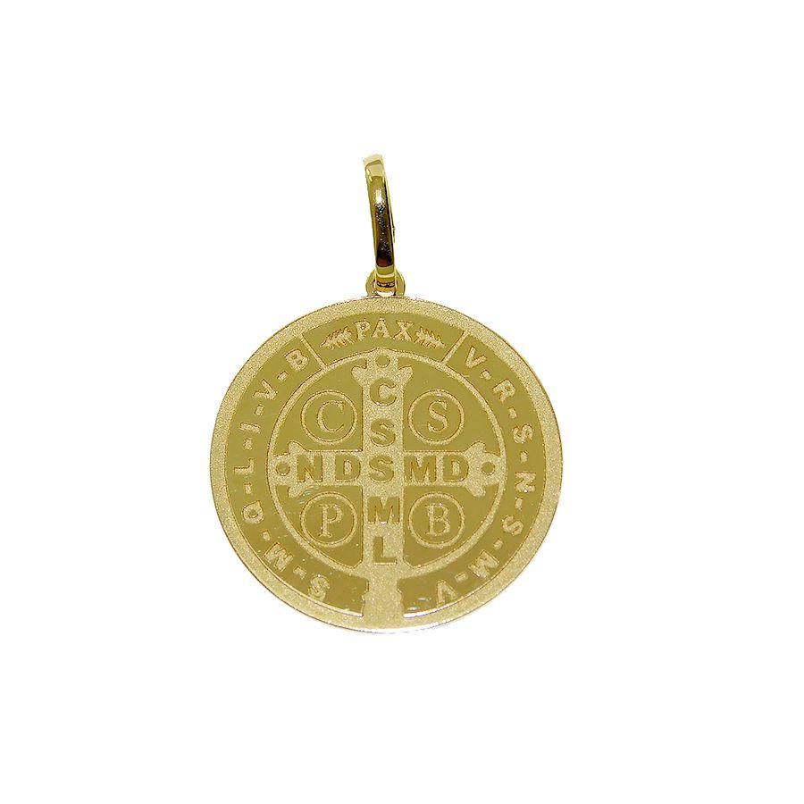 Pingente em Ouro 18K Medalha de São Bento NP913716