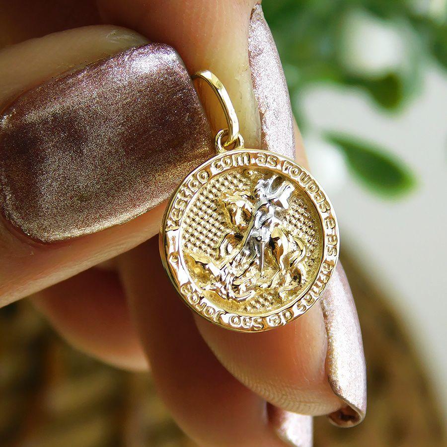 Pingente em Ouro 18K Medalha de São Jorge  NP910234