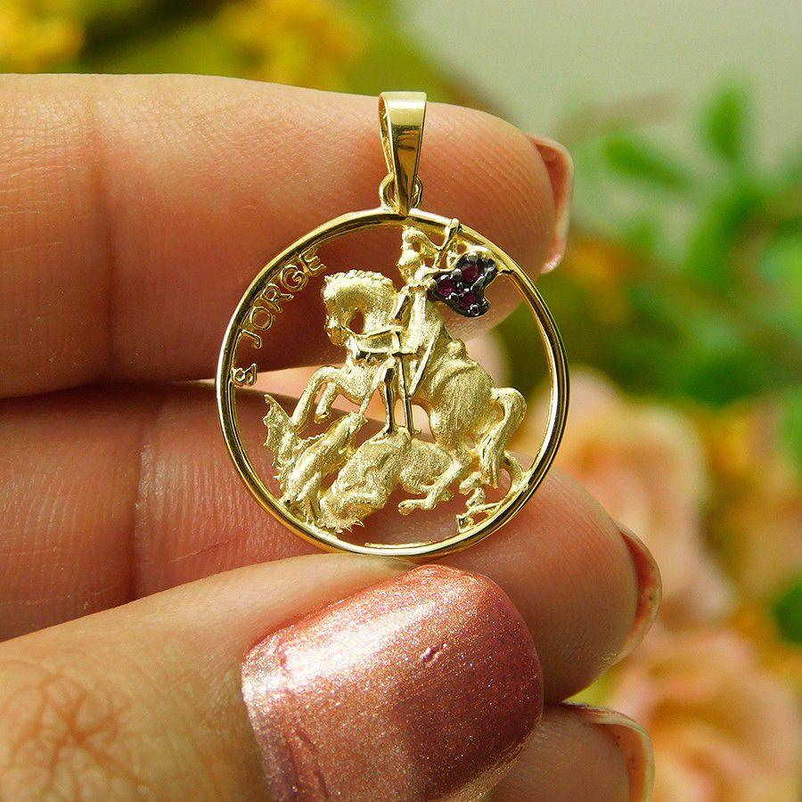 Pingente em Ouro 18K Medalha de São Jorge SJP01Z