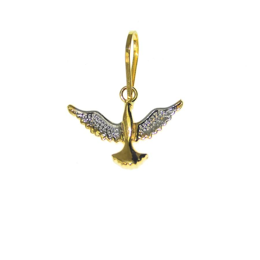 Pingente em Ouro 18K Medalha Divino Espírito Santo PI96328