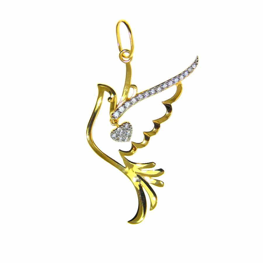 Pingente em Ouro 18K Medalha Divino Espírito Santo PI98440