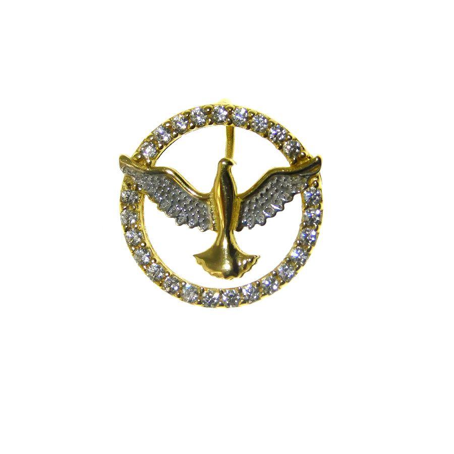 Pingente em Ouro 18K Medalha Divino Espírito Santo PN160Z