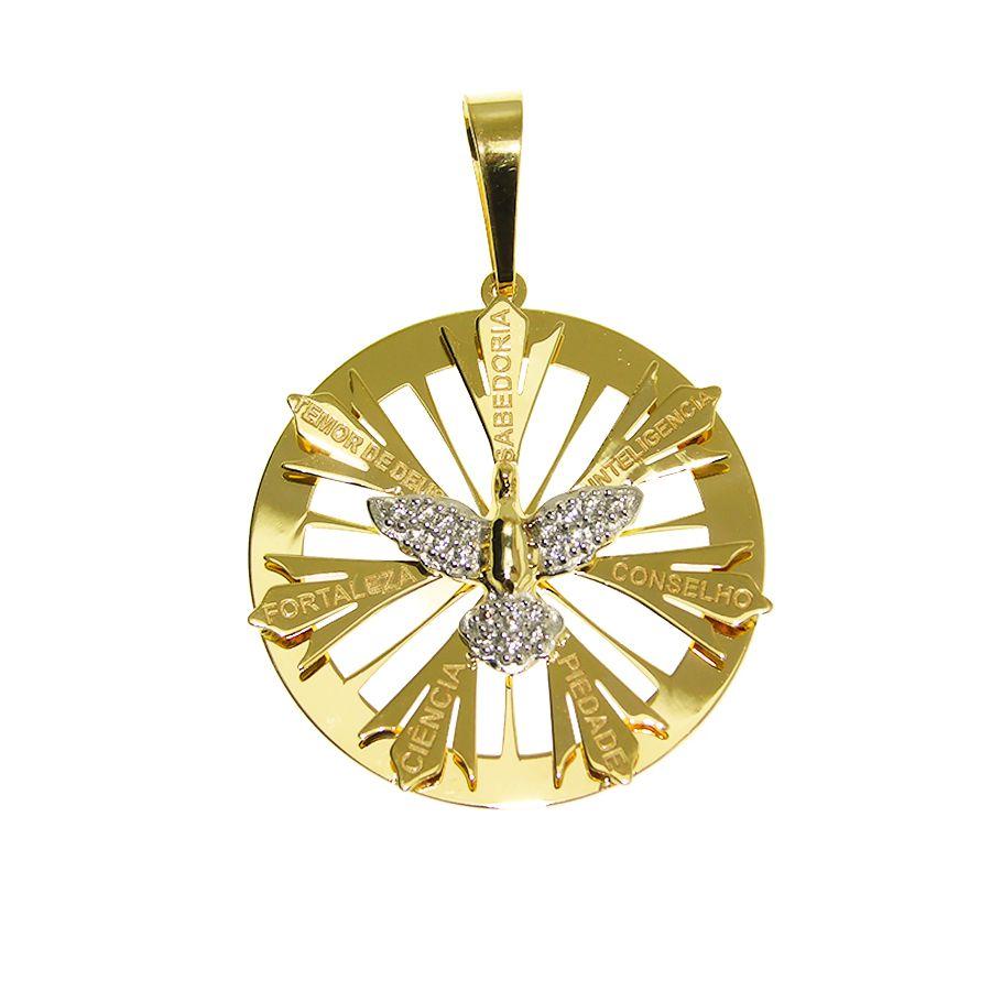 Pingente em Ouro 18K Medalha do Divino Espírito Santo com zircônia NP913706