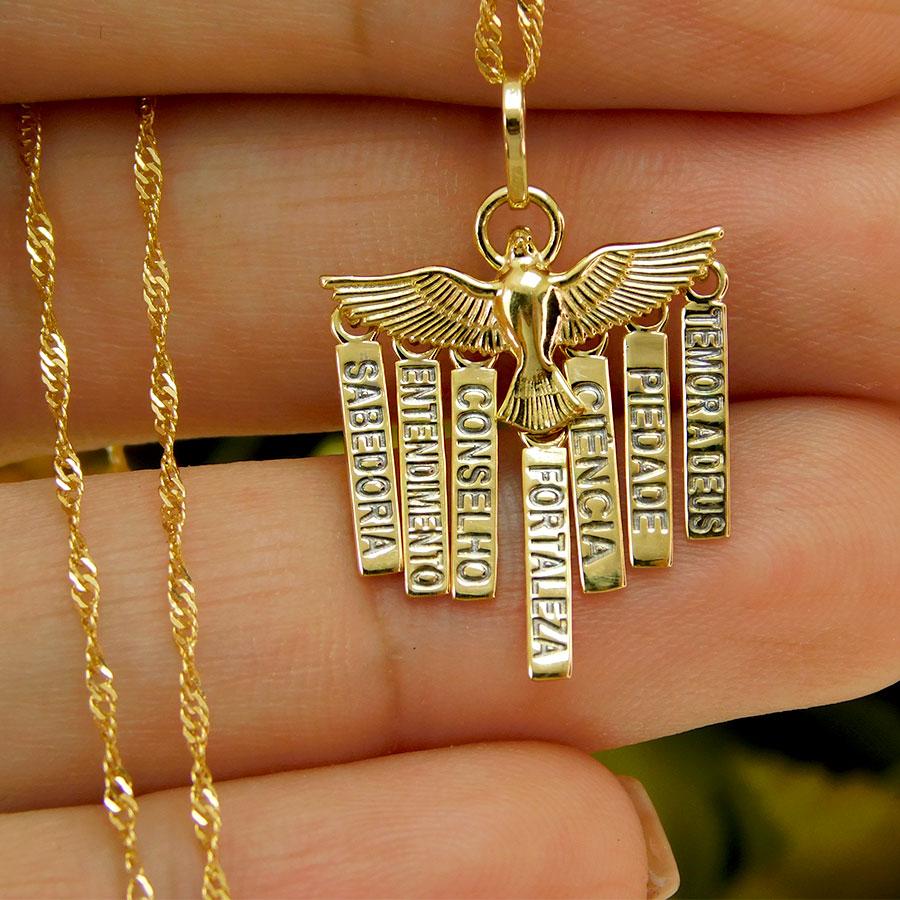 Pingente em Ouro 18K Medalha dos Sete dons do Espírito Santo PI010