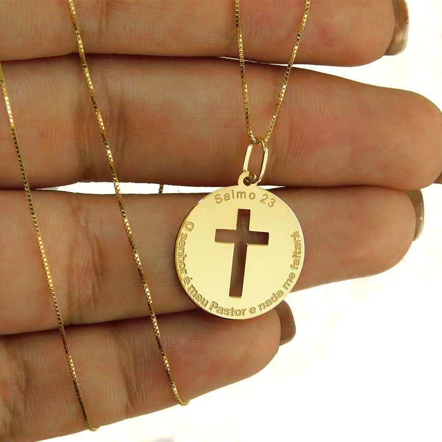 Pingente em Ouro 18K Medalha do Salmo 23 NP916626