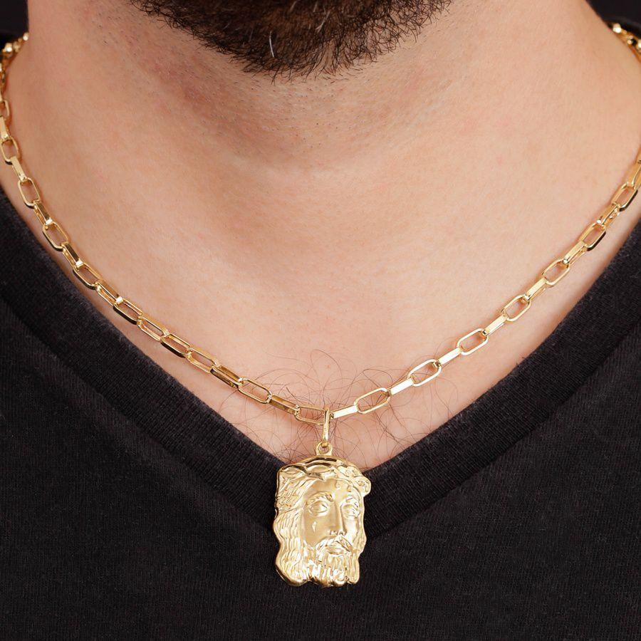 Pingente em Ouro 18K Medalha  Face de Cristo  NP90330