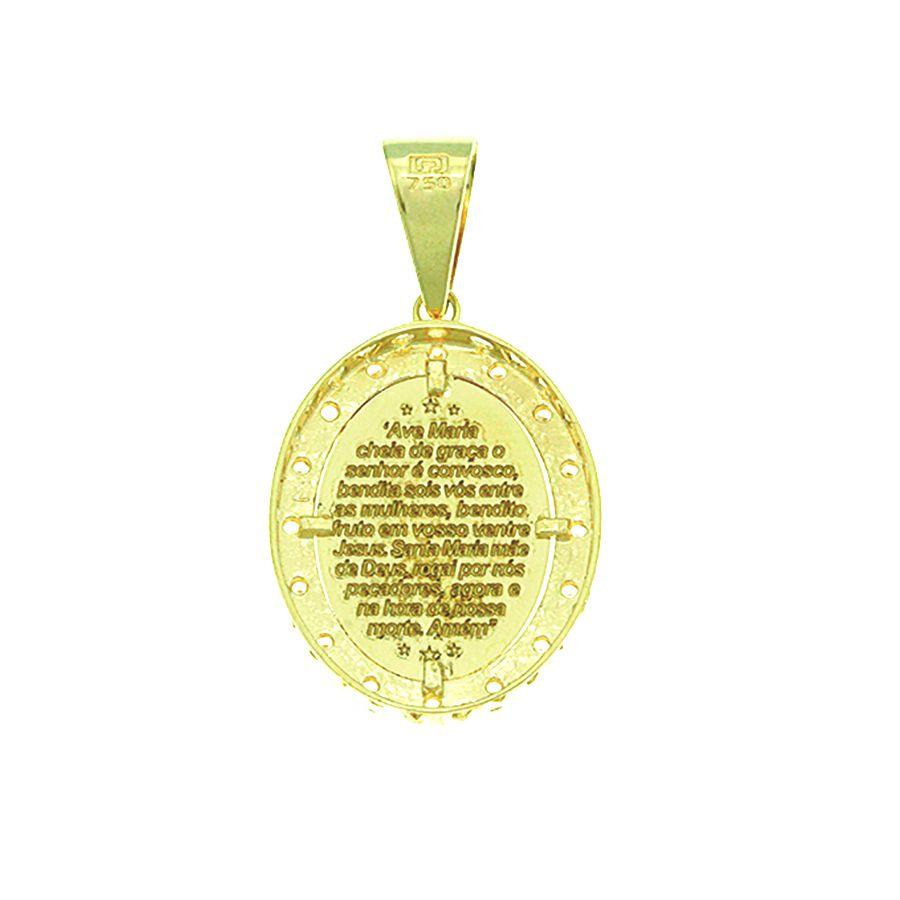 Pingente em Ouro 18K Medalha  Nossa Senhora Aparecida com Zircônia NP912935