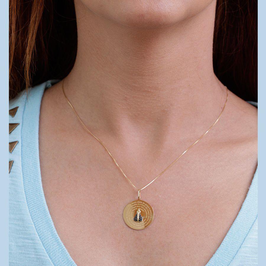 Pingente  em Ouro 18K Medalha Nossa Senhora Aparecida com Zircônia  NP 913015