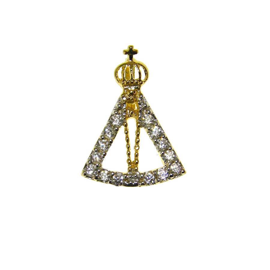 Pingente em Ouro 18K Medalha Nossa Senhora Aparecida com Zircônia PI011