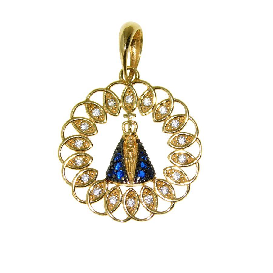 Pingente em Ouro 18K Medalha Nossa Senhora Aparecida com Zircônia PN037