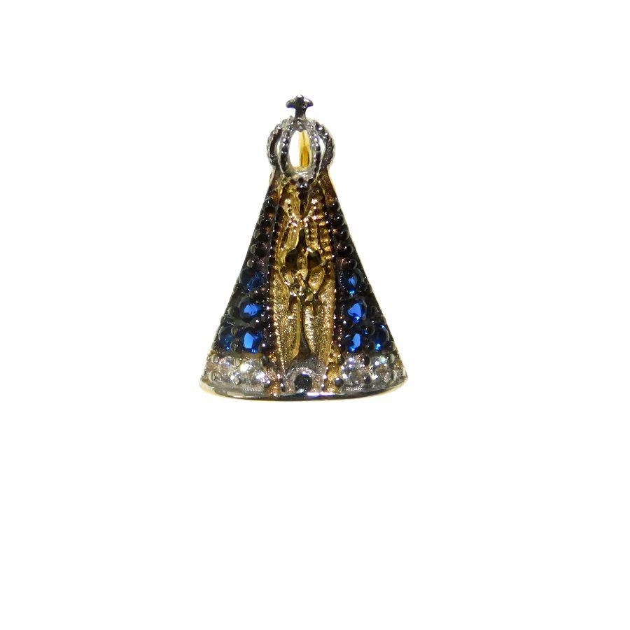 Pingente em Ouro 18K Medalha Nossa Senhora Aparecida com Zircônia STMI03Z