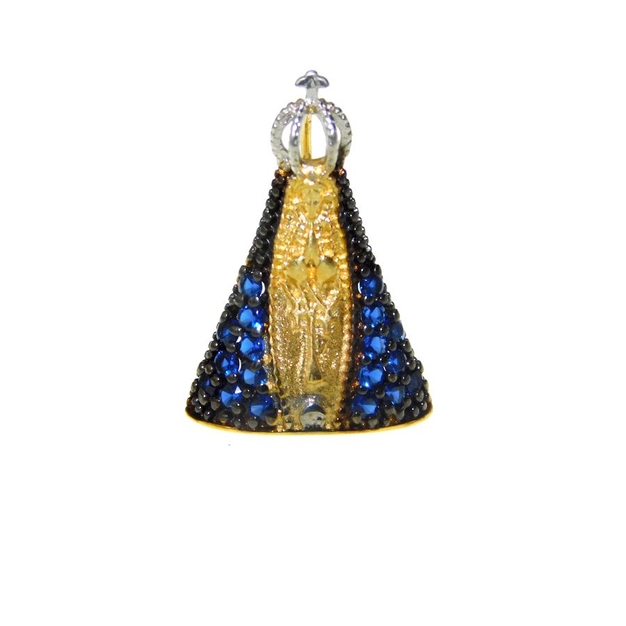 Pingente em Ouro 18K Medalha Nossa Senhora Aparecida com Zircônia STP03Z
