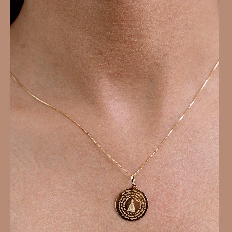 Pingente em Ouro 18K  Medalha Nossa Senhora Aparecida NP912235