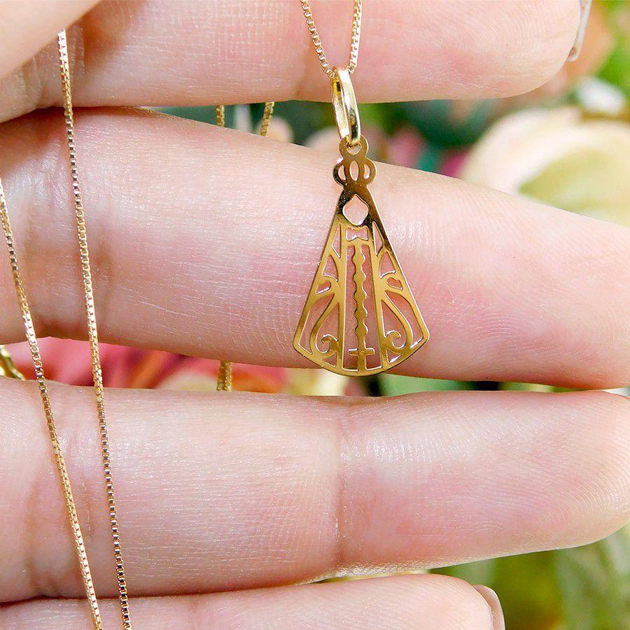 Pingente em Ouro 18K Medalha Nossa Senhora Aparecida NP916769