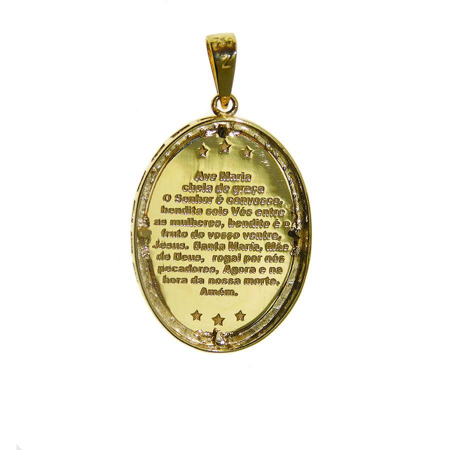 Pingente em Ouro 18K Medalha Nossa Senhora Aparecida PG474P