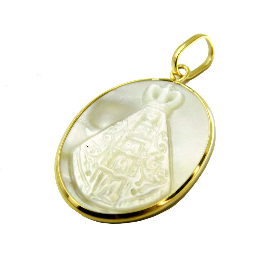 Pingente em Ouro 18K Medalha Nossa Senhora Aparecida PI016