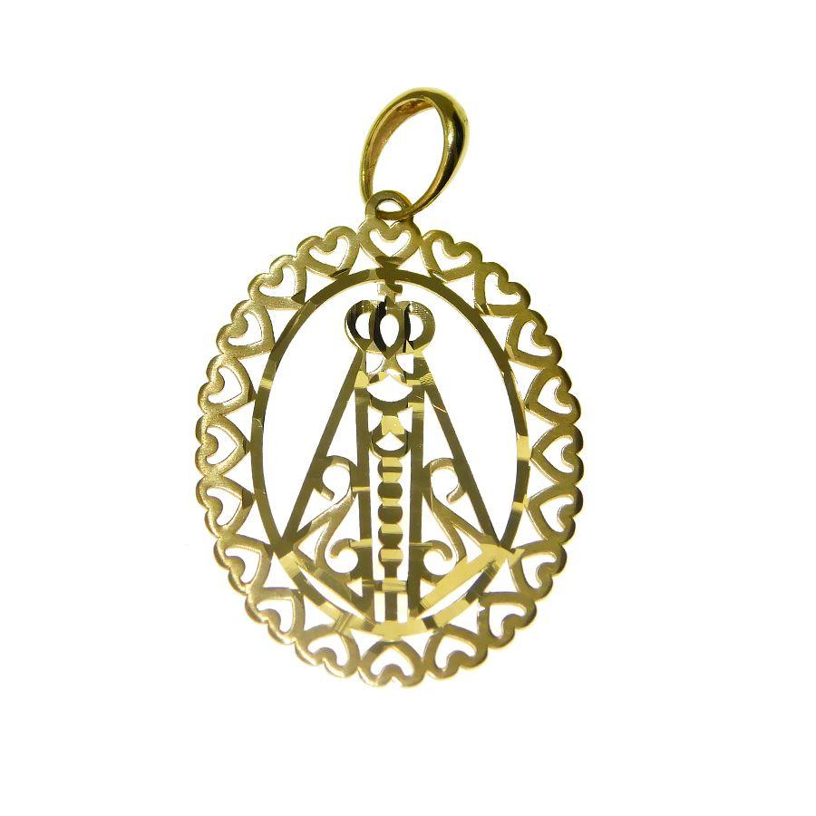 Pingente em Ouro 18K Medalha Nossa Senhora Aparecida PN097
