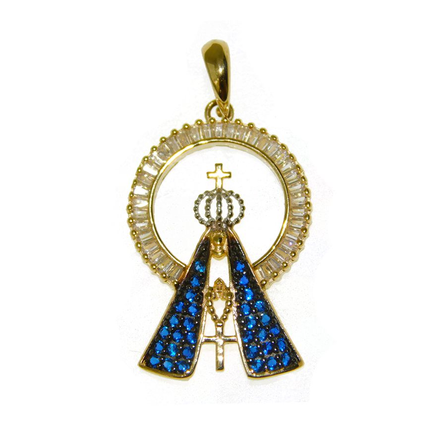 Pingente em Ouro 18K Medalha Nossa Senhora Aparecida PN121Z
